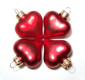 Red metallic Christmas hearts Royalty Free Stock Photo