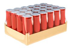 Red metallic drink cans in shrink film, 3D rendering. Isolated on white background Royalty Free Stock Images