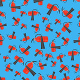 Red Metallic Extinguisher Seamless Pattern. On Blue Background Stock Photos