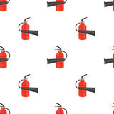 Red Metallic Extinguisher Seamless Pattern. On White Background Royalty Free Stock Images