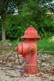 Red fire hydrant with rust in the Park royalty free stock image