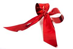 Red metallic gift bow Stock Image