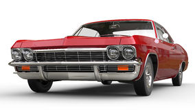 Red metallic muscle car - front view Stock Photos