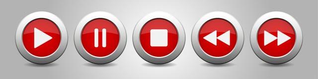 Red metallic music control buttons set Stock Photos