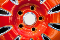 Red Metallic Tyre Disc Stock Images