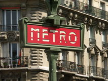 Red metro sign. Metro entrance in Paris, France stock images