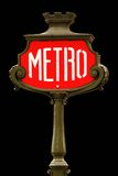 Red metro sign in Paris. France on black background Stock Photo