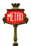 Red metro sign in Paris Stock Photos