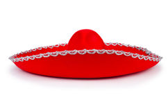 Red mexixan sombrero hat. Isolated on white Royalty Free Stock Images