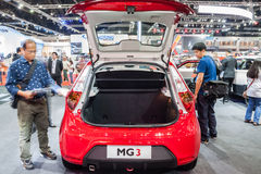 Red MG3 a smart-looking small car open rear door for showing ins Royalty Free Stock Photo
