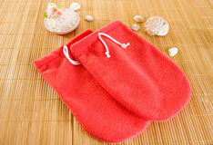 Red microfiber spa mitten Stock Photo