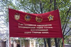Red military banner. Victory Day celebration in Moscow. Royalty Free Stock Photos