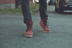 Red military trappers shoes Stock Images
