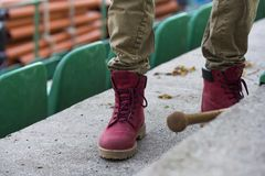 Red military trappers shoes Royalty Free Stock Photo