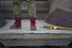 Red military trappers shoes Stock Photos
