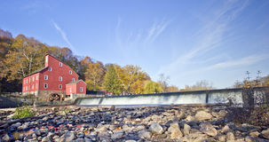 Red Mill waterfall. Red mill and waterfall in New Jersey Royalty Free Stock Photo
