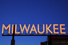Red Milwaukee sign. In downtown of the city Stock Images