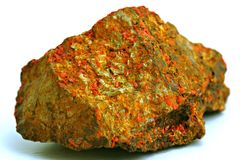 Red mineral. Stone, white backround Royalty Free Stock Images