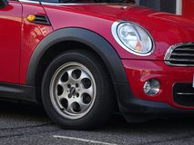 Red Mini Car Lights And Wheel Stock Photo