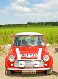 Red Mini car; National Rally in Inverness. Stock Photo