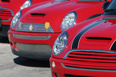 Red Mini Cooper cars royalty free stock photo