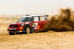 Red Mini Cooper - Kuwait International Rally Royalty Free Stock Photography