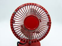 Red mini fan  on white background. Studio shot royalty free stock images
