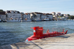 Red mini submarine Royalty Free Stock Images
