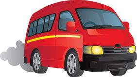 Red minibus taxi cartoon. Cartoon of a red minibus taxi driving down the road Stock Image
