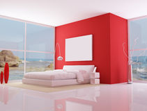 Red minimalist bedroom, Stock Photos