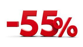 Red minus fifty five percent Stock Image