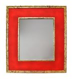 Red mirror. Decorative red mirror with stars isolated on white Stock Photo