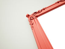 Red mirror frame rendered on dark Royalty Free Stock Images