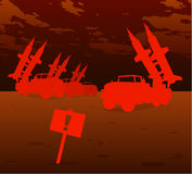 Red missile warfare. Apocalyptic vision in red theme stock illustration