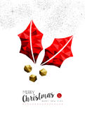 Red mistletoe holly decoration for Christmas. Merry christmas and happy new year red xmas mistletoe in low poly style, holiday decoration card design. EPS10 Royalty Free Stock Image