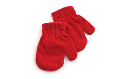 Red mittens. Isolated on white background with copy space Royalty Free Stock Photos