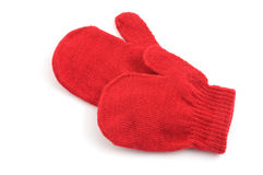 Red mittens. Isolated on white background with copy space Royalty Free Stock Photography