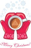 Red mittens with a coffee cup stock photos