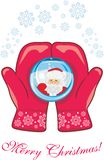 Red mittens with a glass ball. Christmas postcard vector illustration