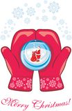Red mittens with a glass ball royalty free illustration