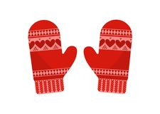 Red mittens, isolated Stock Photo