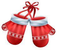 Red mittens pair santa isolated on white background. Christmas accessory Royalty Free Stock Image