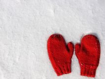 Red mittens on snow. Red hand knit mittens on new snow Stock Images