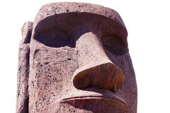 Red moai head. In Easter Island stock photos