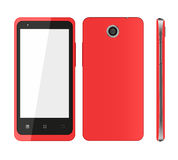 Red mobile phone. Front view, behind, sideways. Vector illustration Royalty Free Stock Photos
