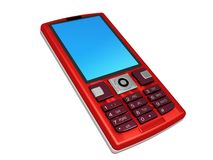 Red mobile phone. Isolated on white Royalty Free Stock Image