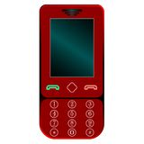 Red mobile phone against white Royalty Free Stock Photos