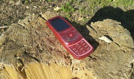 Red mobile phone 2000s rests on a wooden stump.  Royalty Free Stock Image