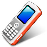 Red Mobile Telephone. Gray mobile telephone over white background stock illustration