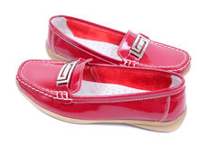Red mocassins Royalty Free Stock Image